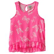 SO Neon Butterfly Chiffon Tank - Girls Plus