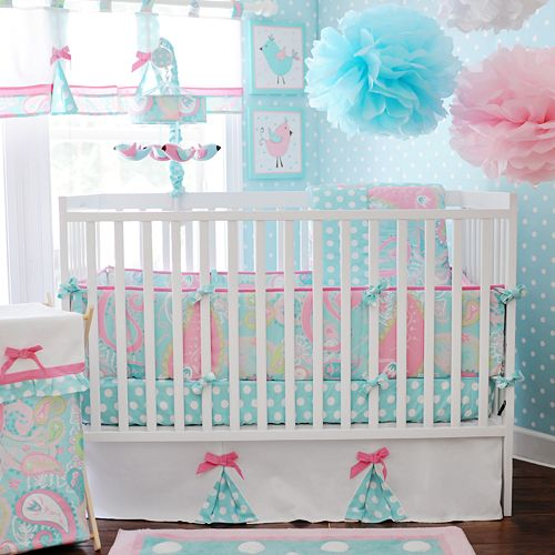 My Baby Sam 3-pc. Pixie Baby Aqua Crib Set