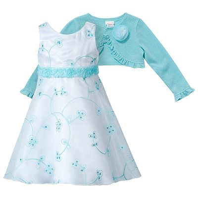 Youngland Floral Dress and Cardigan Set - Toddler