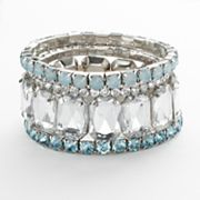 Candie's Silver Tone Simulated Crystal Stretch Bracelet Set