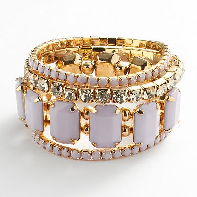 Candie's Gold Tone Simulated Crystal Stretch Bracelet Set