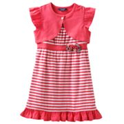 Chaps Striped Knit Dress and Shrug Set - Toddler