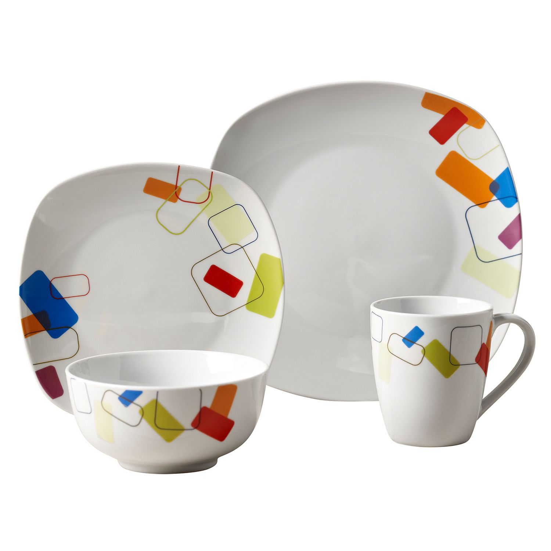 Tabletops Gallery Soho 16 Pc. Square Dinnerware Set