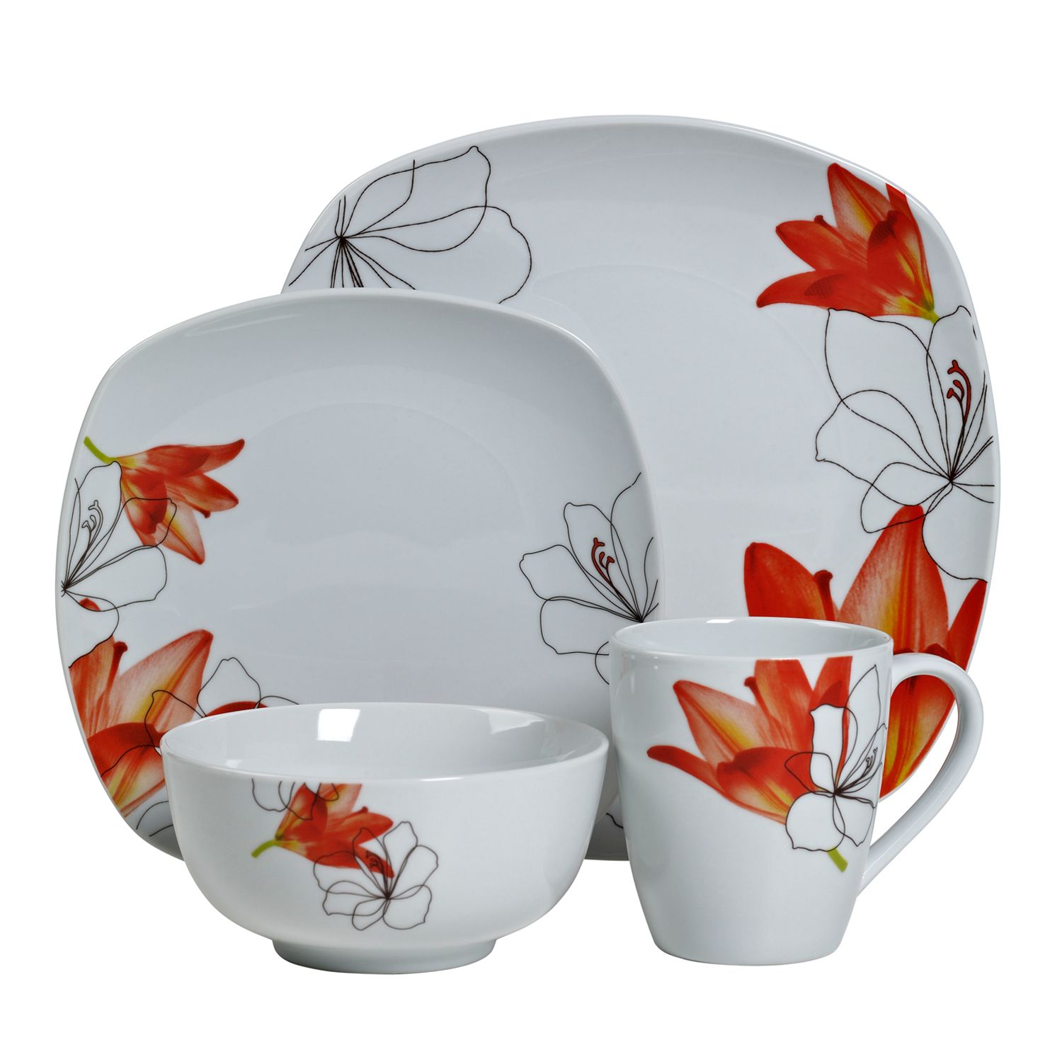 Tabletops Gallery Lily 16 Pc. Square Dinnerware Set