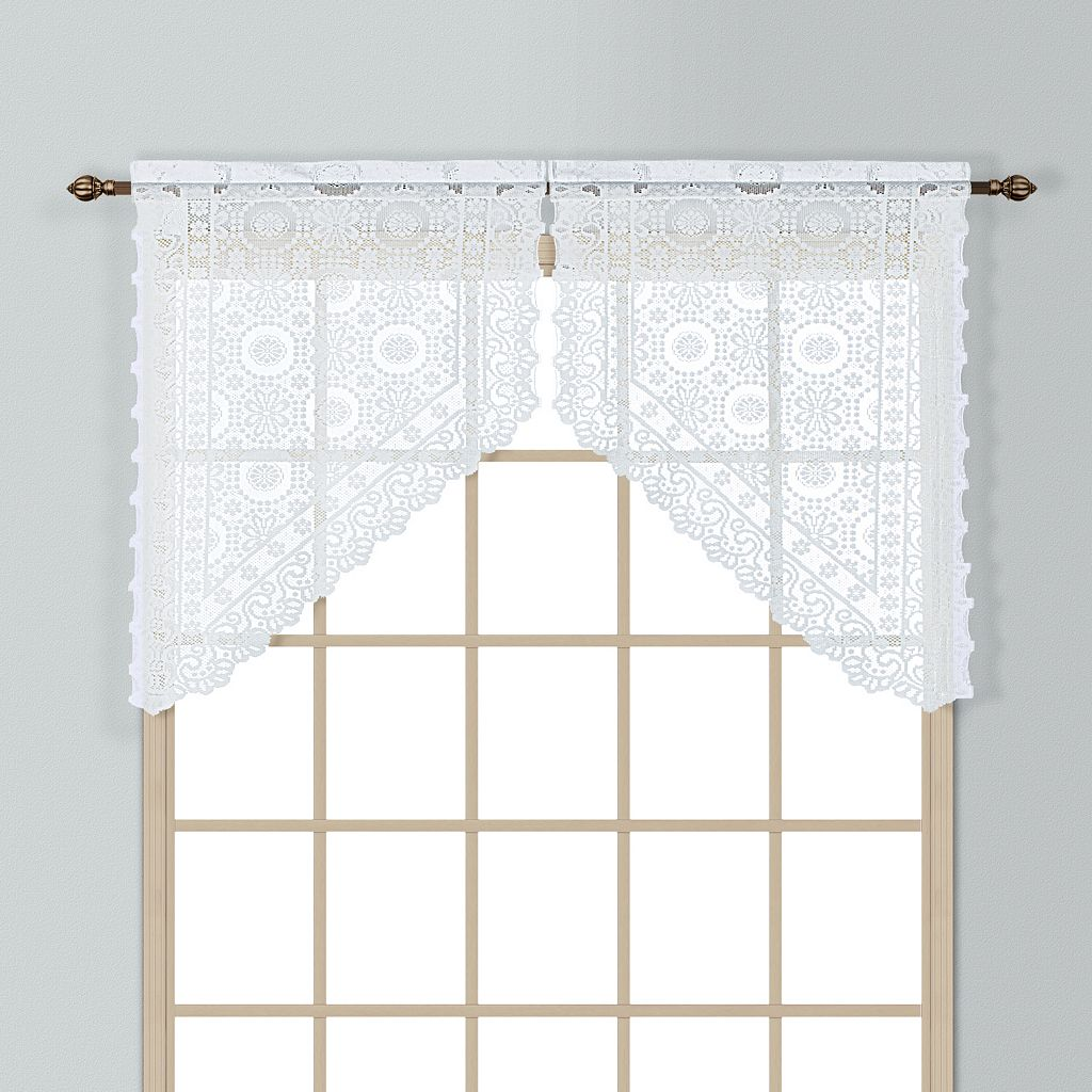 United Curtain Co. Rochelle Lace Swag Curtain Pair - 56