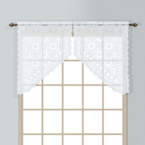 United Curtain Co. Rochelle Lace Swag Curtain Pair - 56'' x 38''