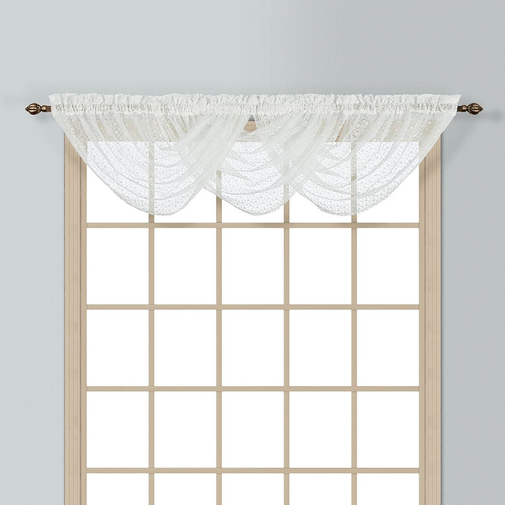 United Curtain Co. Charlotte Waterfall Lace Window Valance - 44