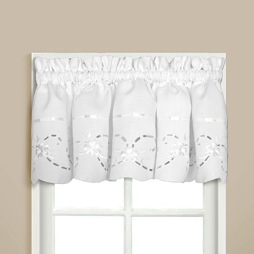 """United Curtain Co. Rachael Embroidered Window Valance - 60"""" x 12"""""""