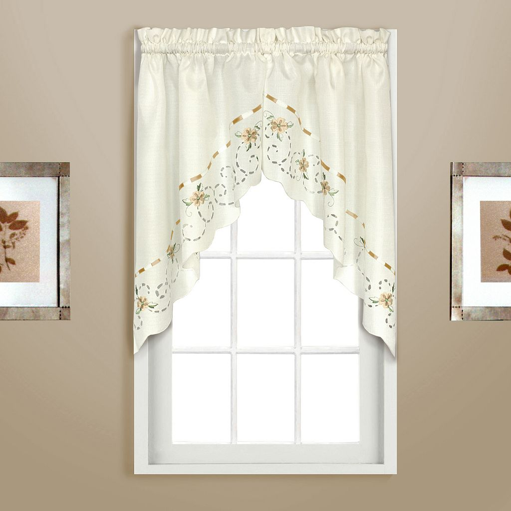 United Curtain Co. Rachael Embroidered Swag Curtain Pair - 60