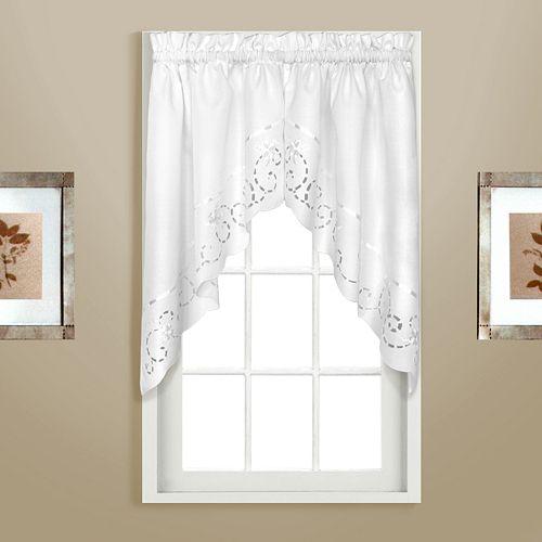 United Curtain Co. Rachael Embroidered Swag Curtain Pair - 60'' x 30.5''