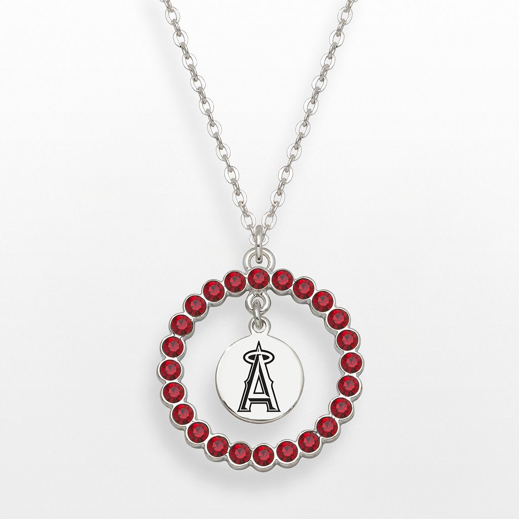 Los Angeles Angels of Anaheim Silver Tone Crystal Logo Charm Circle Pendant
