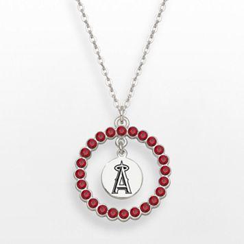 Los Angeles Angels of Anaheim Silver Tone Crystal Logo Charm Circle Pendant