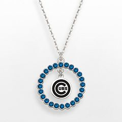 LogoArt Chicago Cubs Silver Tone Crystal Logo Charm Circle Pendant