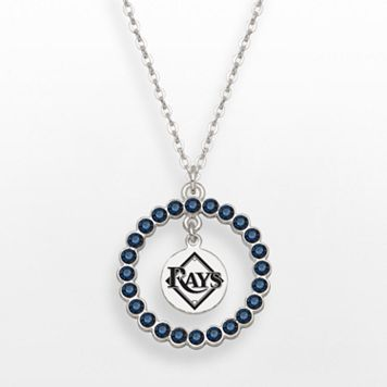 LogoArt Tampa Bay Rays Silver Tone Crystal Logo Charm Circle Pendant