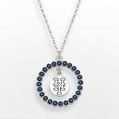 LogoArt New York Mets Silver Tone Crystal Logo Charm Circle Pendant