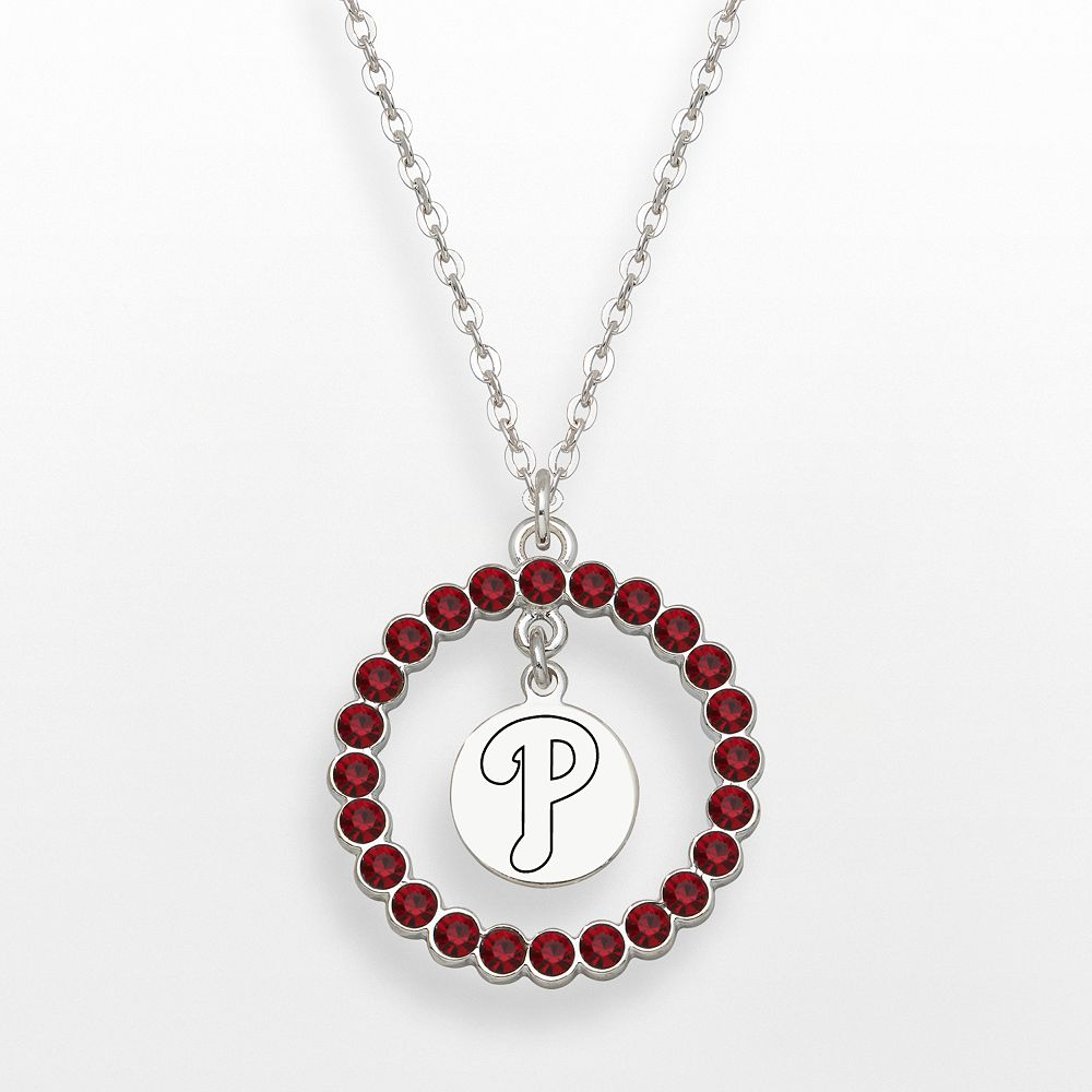 LogoArt Philadelphia Phillies Silver Tone Crystal Logo Charm Circle Pendant