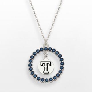 LogoArt Texas Rangers Silver Tone Crystal Logo Charm Circle Pendant