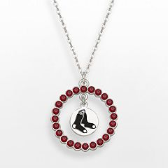 LogoArt Boston Red Sox Silver Tone Crystal Logo Charm Circle Pendant