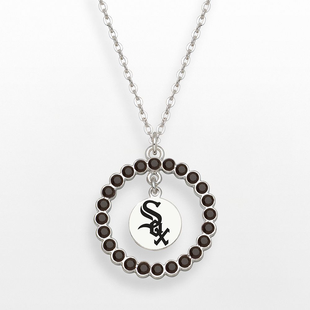 LogoArt Chicago White Sox Silver Tone Crystal Logo Charm Circle Pendant