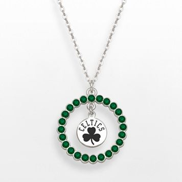 LogoArt Boston Celtics Silver Tone Crystal Logo Charm Circle Pendant