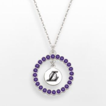 LogoArt Los Angeles Lakers Silver Tone Crystal Logo Charm Circle Pendant