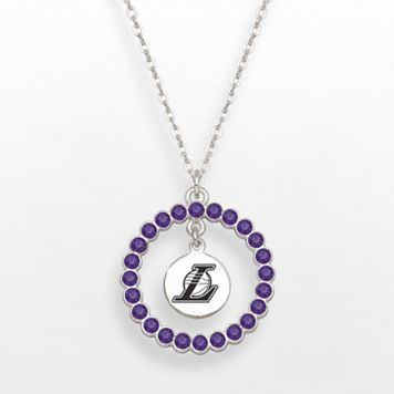 LogoArt Los Angeles Lakers Silver Tone Crystal Logo Charm Circle Pendant