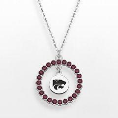 LogoArt Kansas State Wildcats Silver Tone Crystal Logo Charm Circle Pendant