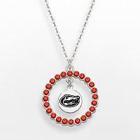 LogoArt Florida Gators Silver Tone Crystal Logo Charm Circle Pendant