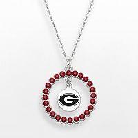 LogoArt Georgia Bulldogs Silver Tone Crystal Logo Charm Circle Pendant