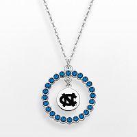LogoArt North Carolina Tar Heels Silver Tone Crystal Logo Charm Circle Pendant