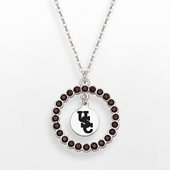 LogoArt South Carolina Gamecocks Silver Tone Crystal Logo Charm Circle Pendant