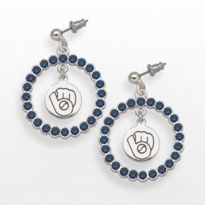 LogoArt Milwaukee Brewers Silver Tone Crystal Logo Charm Hoop Drop Earrings