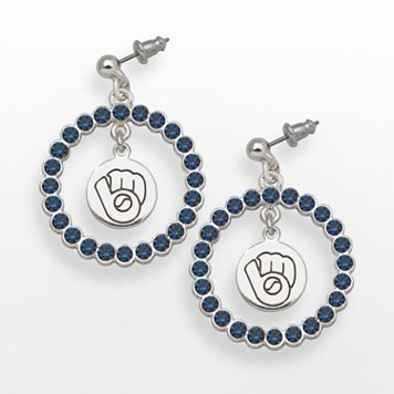 LogoArt Milwaukee Brewers Silver Tone Crystal Logo Charm Hoop Drop Earrings