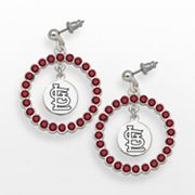 LogoArt St. Louis Cardinals Silver Tone Crystal Logo Charm Hoop Drop Earrings