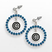 LogoArt Chicago Cubs Silver Tone Crystal Logo Charm Hoop Drop Earrings