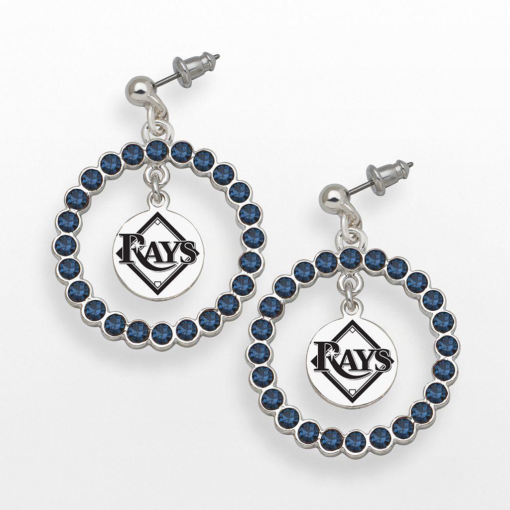 LogoArt Tampa Bay Rays Silver Tone Crystal Logo Charm Hoop Drop Earrings