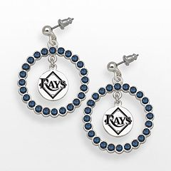 LogoArt Tampa Bay Rays Silver Tone Crystal Logo Charm Hoop Drop Earrings