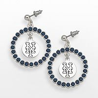 LogoArt New York Mets Silver Tone Crystal Logo Charm Hoop Drop Earrings