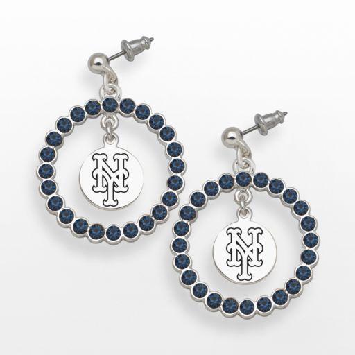 LogoArt New York Mets Silver Tone Crystal Logo Charm Hoop Drop Earrings