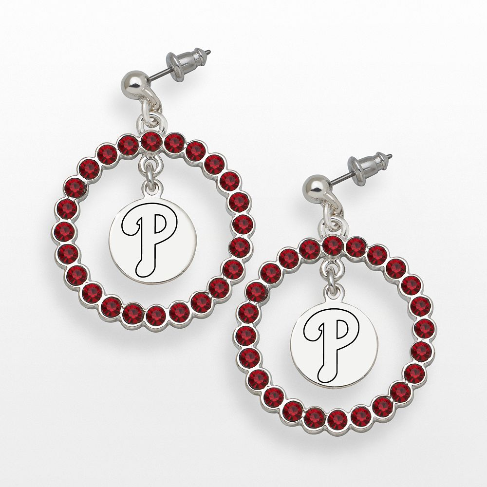 LogoArt Philadelphia Phillies Silver Tone Crystal Logo Charm Hoop Drop Earrings