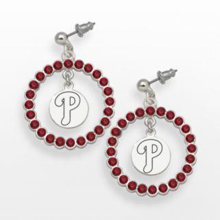 LogoArt Philadelphia Phillies Silver Tone Crystal Logo Charm Hoop Drop Earrings