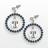LogoArt Texas Rangers Silver Tone Crystal Logo Charm Hoop Drop Earrings