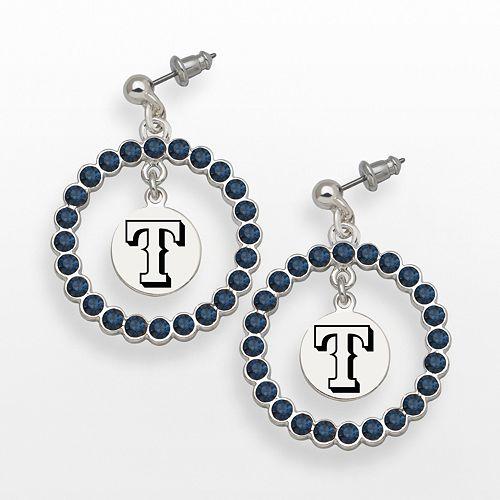 LogoArt Texas Rangers Silver Tone Crystal Logo Charm Hoop Drop Earrings