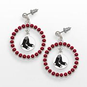 LogoArt Boston Red Sox Silver Tone Crystal Logo Charm Hoop Drop Earrings