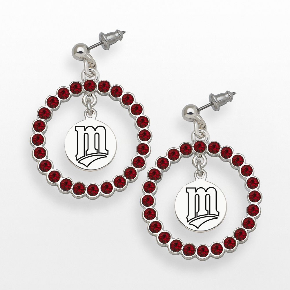 LogoArt Minnesota Twins Silver Tone Crystal Logo Charm Hoop Drop Earrings