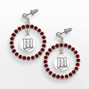 LogoArt Minnesota Twins Silver Tone Crystal Logo Charm Hoop Drop Earrings