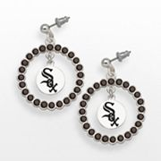 LogoArt Chicago White Sox Silver Tone Crystal Logo Charm Hoop Drop Earrings