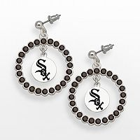 LogoArt Chicago White Sox Silver Tone Crystal Logo Charm Hoop Drop Earrings