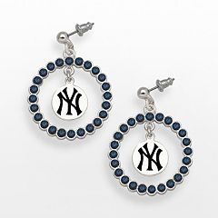 LogoArt New York Yankees Silver Tone Crystal Logo Charm Hoop Drop Earrings