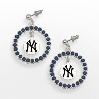 LogoArt New York Yankees Silver Tone Crystal Logo Charm Hoop Drop Earrings